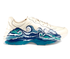 Rhyton Leather Sneaker With Wave