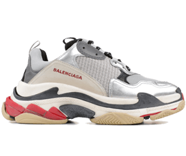 Perfect Balenciaga Triple S Trainers Sliver / Black / Red Free Shipping via DHL for sale