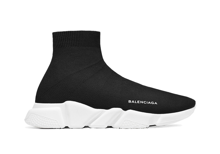 $195 Perfect Balenciaga Speed Trainers Mid Black White Free Shipping Worldwide price