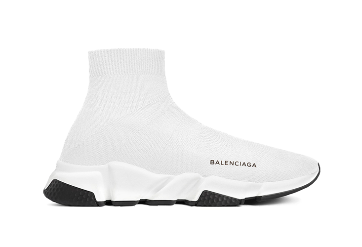 $225 Perfect Balenciaga Speed Trainers Mid White Black Free Shipping Worldwide store
